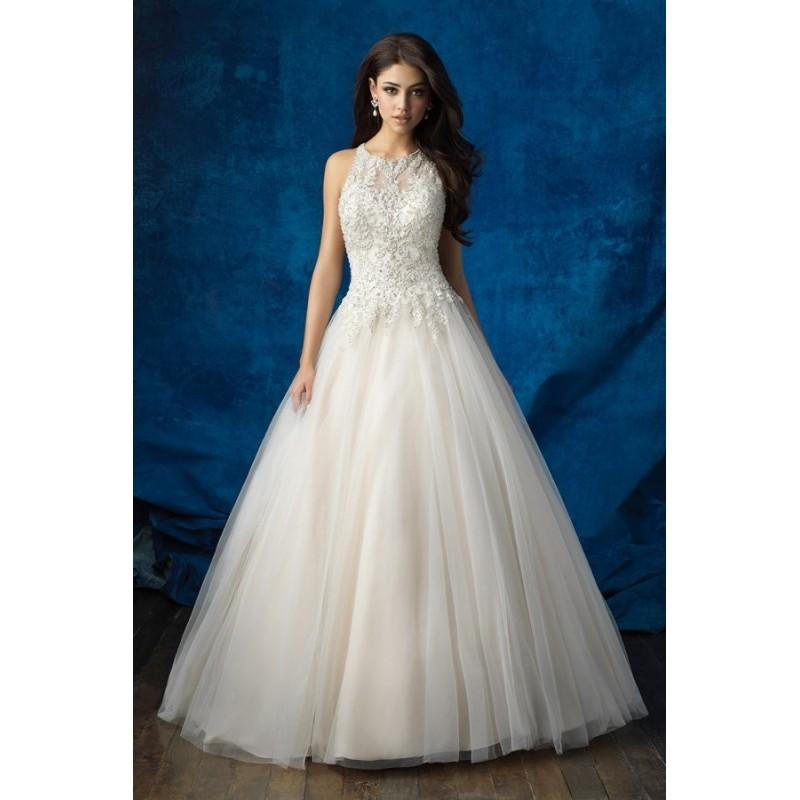 Wedding - Style 9359 by Allure Bridals - Sleeveless Ballgown LaceTulle Chapel Length Floor length High-Neck Dress - 2017 Unique Wedding Shop