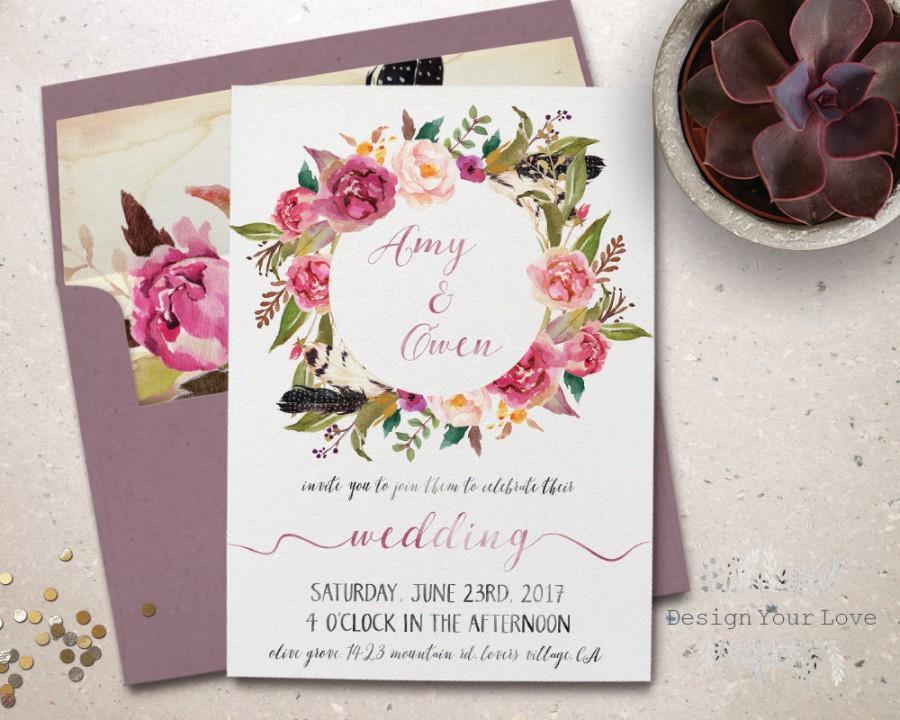 Wedding - printable wedding invitation printable floral wreath wedding invite boho wedding bohemian watercolor floral pink floral wedding digital file