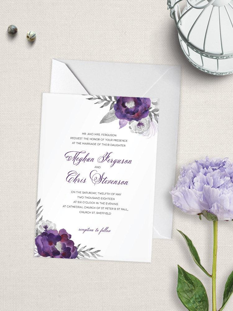 Purple Affection Wedding Invitation