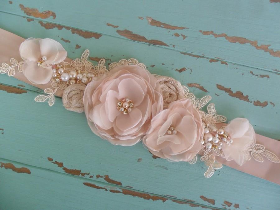 Mariage - Wedding Sash, Floral Bridal Sash, Rose Gold/Blush Sash, Vintage Sash, Lace Sash, Pearl & Rhinestone Sash, YOUR CHOICE COLOR, Bridal Sash