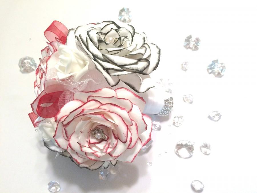 زفاف - Paper wedding bouquets - Black & red paper rose bouquet - Rose bouquet, Throw bouquet - Alternative bouquet - Paper bouquet - Brooch bouquet