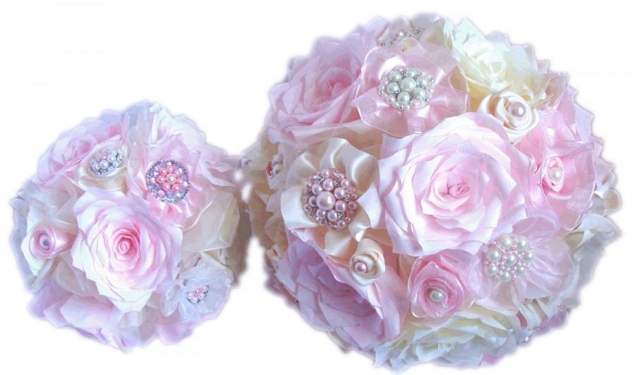 Свадьба - Brooch bouquet - Pink handmade paper bouquet - 3 sizes to choose from - Romantic bouquet - Shabby chic Bridal bouquet - Wedding bouquet