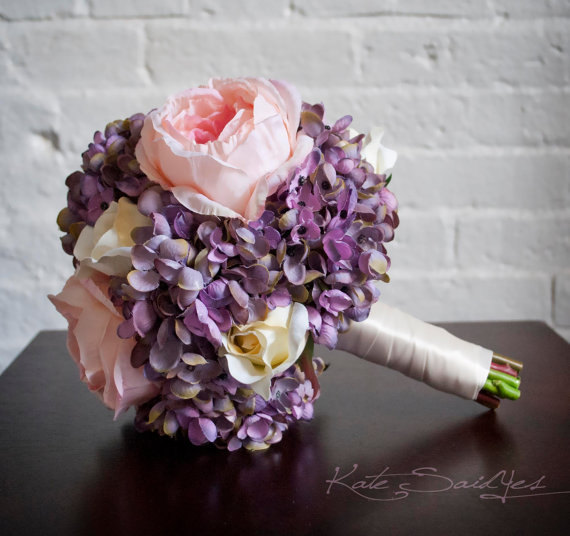 Mariage - Lavender Hydrangea and Pink Peony Wedding Bouquet - Silk Bridal Bouquet