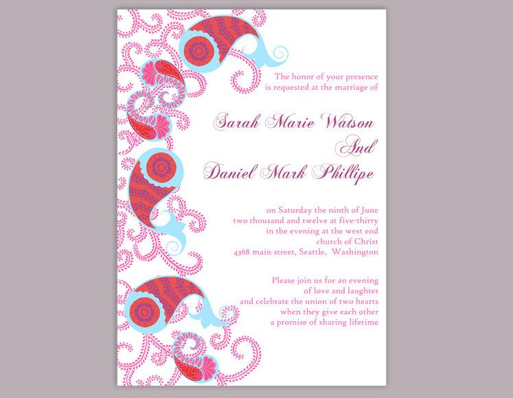 Hochzeit - Bollywood Wedding Invitation Template Download Printable Wedding Invitation Editable Red Invitations Indian invitation Paisley Invites DIY - $6.90 USD