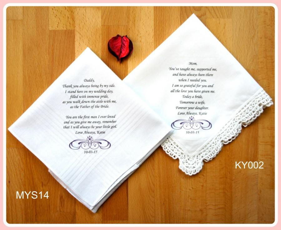Mariage - Wedding Handkerchief-PRINTED-Set of 2 CUSTOMIZED-Mother of the Bride-Father of the Bride-Wedding Hankerchief-Wedding Gift-Parents Gift-Favor