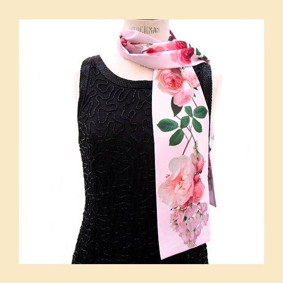 زفاف - scarf with pink roses print, handmade in faille fabric with digitally printed floral design