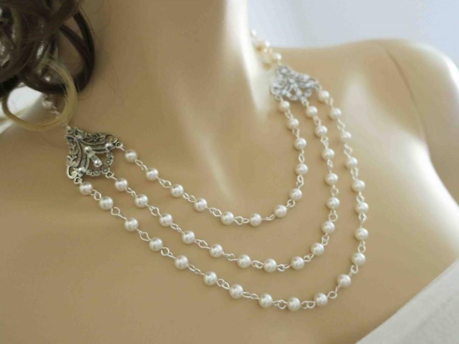 Wedding - Bridal Statement Necklace Ivory Pearl Wedding Necklace Bridal Jewelry Vintage Back Drop Bridal Necklace Swarovski Pearl Drop Crystal - $90.00 USD