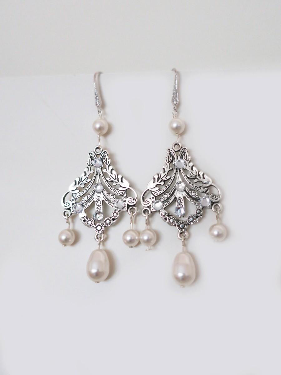 Hochzeit - Wedding Chandelier Earrings Swarovski Pearl Earrings Bridal Jewelry Vintage Ivory White Pearl Chandelier Earrings Art Deco Wedding Sterling - $42.00 USD