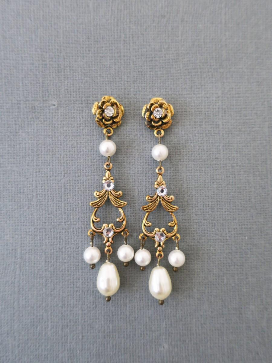 Gold bridal earrings pearl chandelier earrings wedding jewelry for gold bridal earrings pearl chandelier earrings wedding jewelry for brides pearl and gold bridal earrings statement art deco swarovski drop 5200 usd arubaitofo Gallery