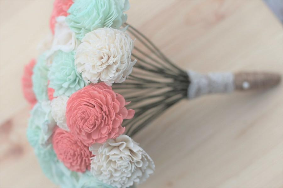 Wedding - Coral and Mint, Sola Bouquet, Wooden Flowers, Rustic Wedding,  Country Wedding, Decorations, Wedding Flowers, Home Decor, Wedding Bouquet