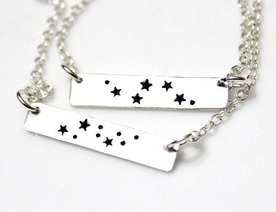Aquarius Necklace, Sterling Silver Aquarius Charm, Silver Bar Necklace, Zodiac Jewelry, Astrology Necklace, Birthday Gift