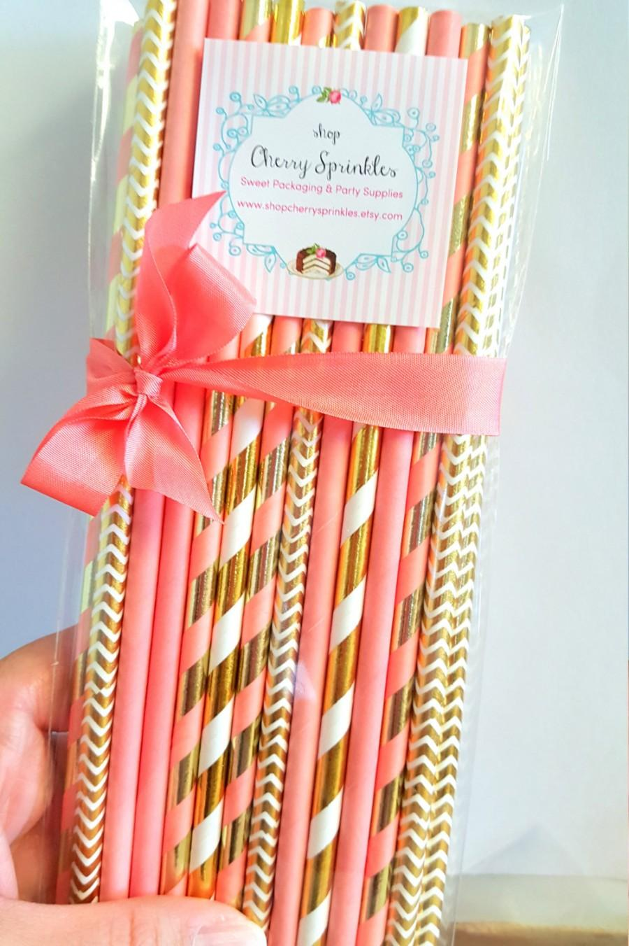 Coral And Gold Gold Foil Straws Coral Straws Coral Wedding Decor