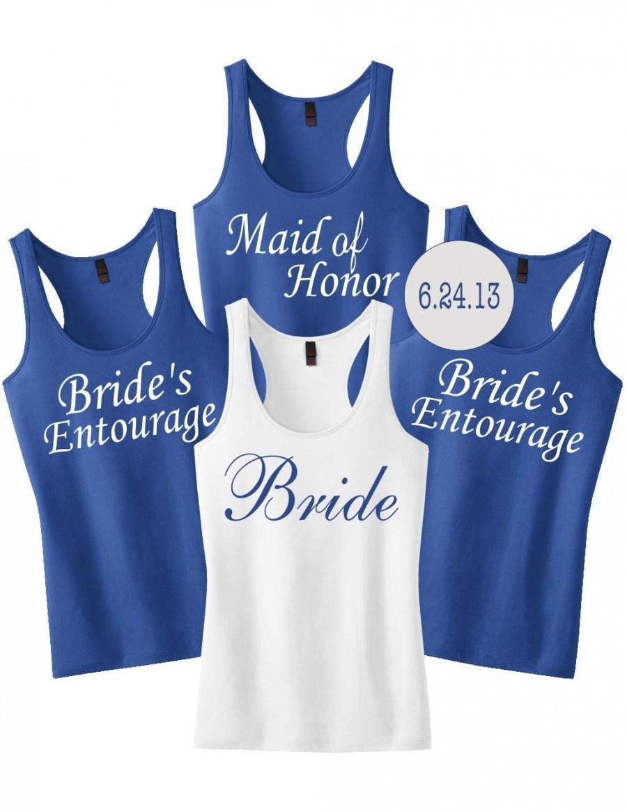 Mariage - Personalized Wedding Party Tank.Bride.Bridesmaids.Brides Posse.Custom Bridesmaid Shirt.Bridal Party.Bridesmaid Shirts.Bachelorette Shirts