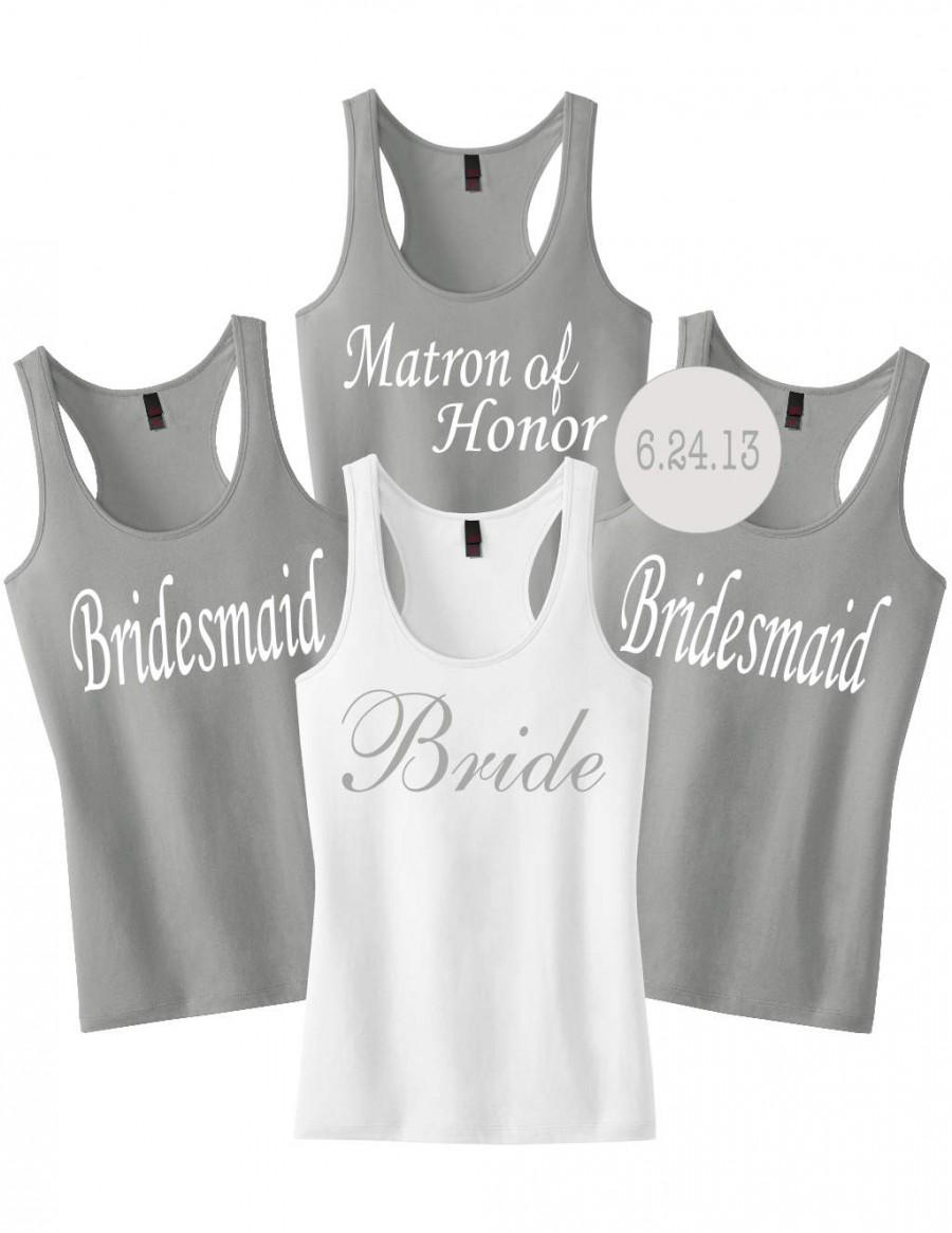 Mariage - Custom Bridesmaid Tanks.Custom Bride Tank Shirt.Bridesmaid Shirts.Custom Bachelorette Shirts.Bride Tank Top.Wedding Shirts.Bridesmaid Gift