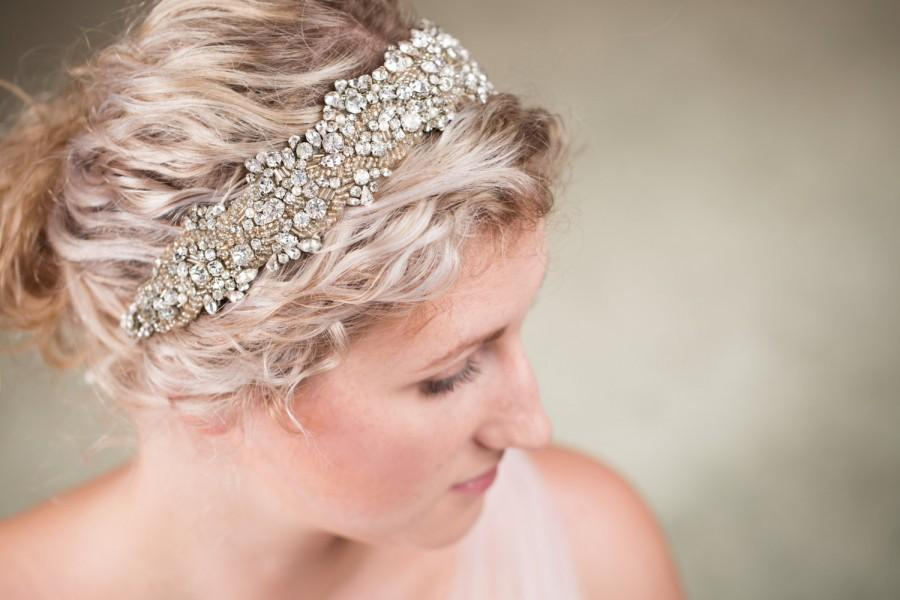 Свадьба - Flora Crown - Vintage Style Bridal Crystal Beaded Hairpiece