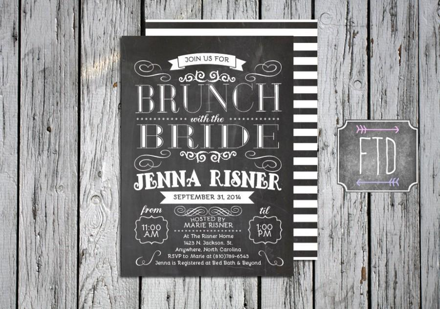 Wedding - Chalkboard Brunch with the Bride Invitation, Personalized Vintage Bridal Brunch Invite, Printable, Custom Digital File, Multiple Sizes