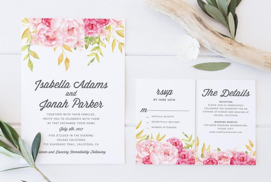 Wedding - Printable Wedding Invitation, DIY Wedding Invitation, Boho Wedding Invitation, Floral Wedding Invitation, Blush Pink Gold, INSTANT DOWNLOAD