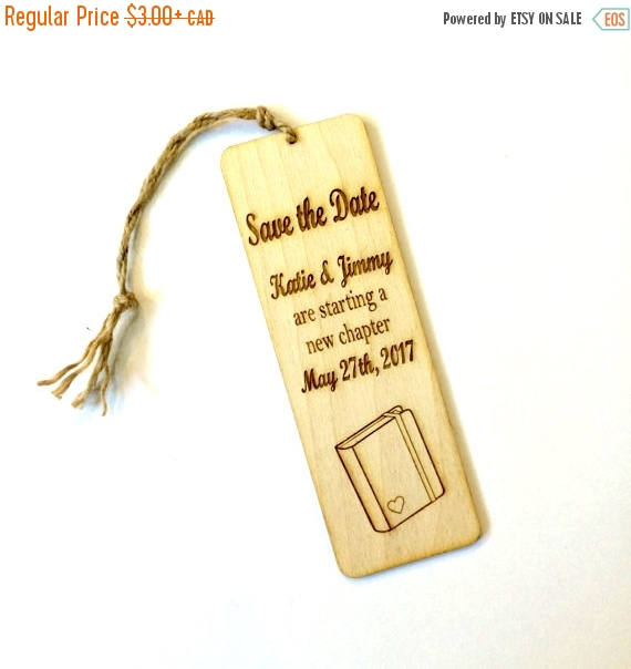 Wedding - Unique save the date bookmark wood save the date engraved