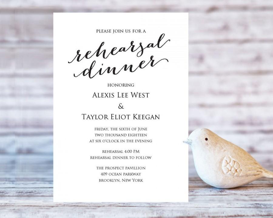 Wedding - Rehearsal Dinner Invitation Template, DIY Printing, Custom Personalized Invitation, Wedding Rehearsal Invitation Template, #BT104