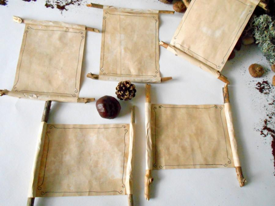 Diy Scroll Wedding Invitations: 5 Wedding Invitation Scrolls With Coffee Recycled Papers