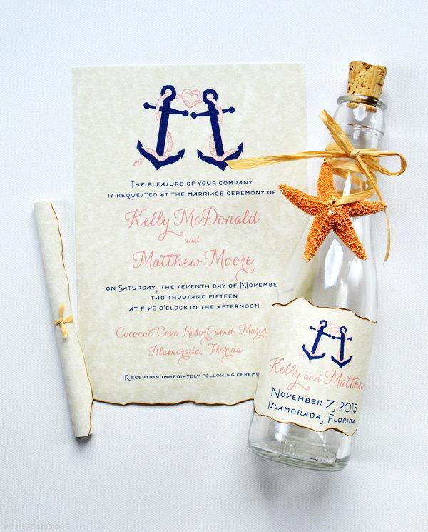 bottle wedding invitations bottle invitations nautical wedding