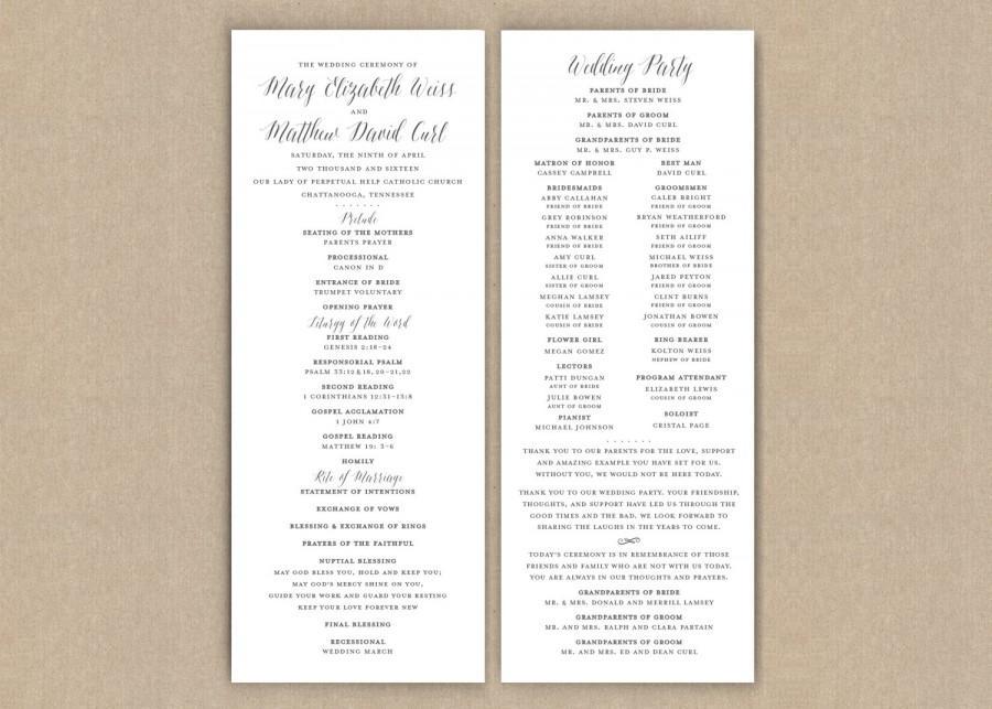 زفاف - Printed Wedding Programs // Classic Grey Flat