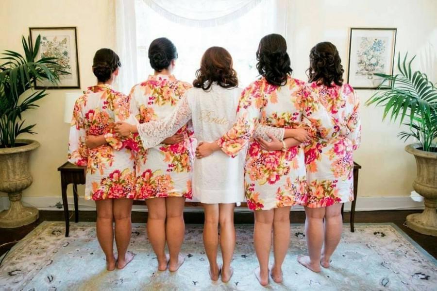 Свадьба - Kimono Robe // Bridesmaid Robes // Bridal Robe // Bride Robe // Bridal Party Robes // Bridesmaid Gift // Cotton Robe // Robe // Floral Robes