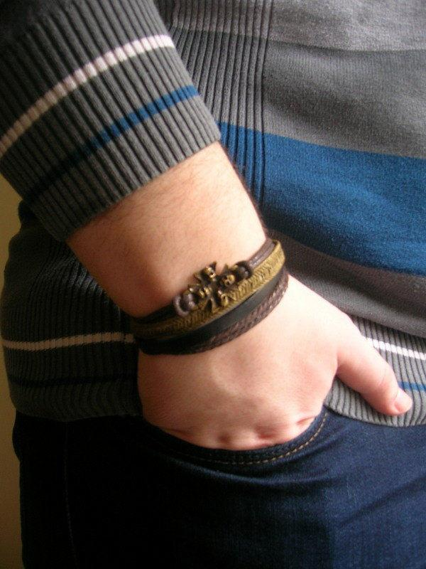 Wedding - Skull Leather Bracelet, Skull Bracelet, Brown Leather Bracelet, Cross Wristband, Cross Leather Bracelet, Men Leather Bracelet, Gift For Him