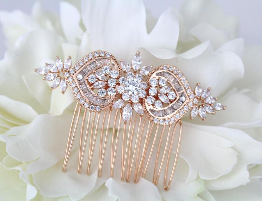 Mariage - Rose gold hair comb, Bridal hair comb, Wedding hair accessories, Swarovski hair comb, Crystal hair comb Art Deco headpiece Wedding headpiece