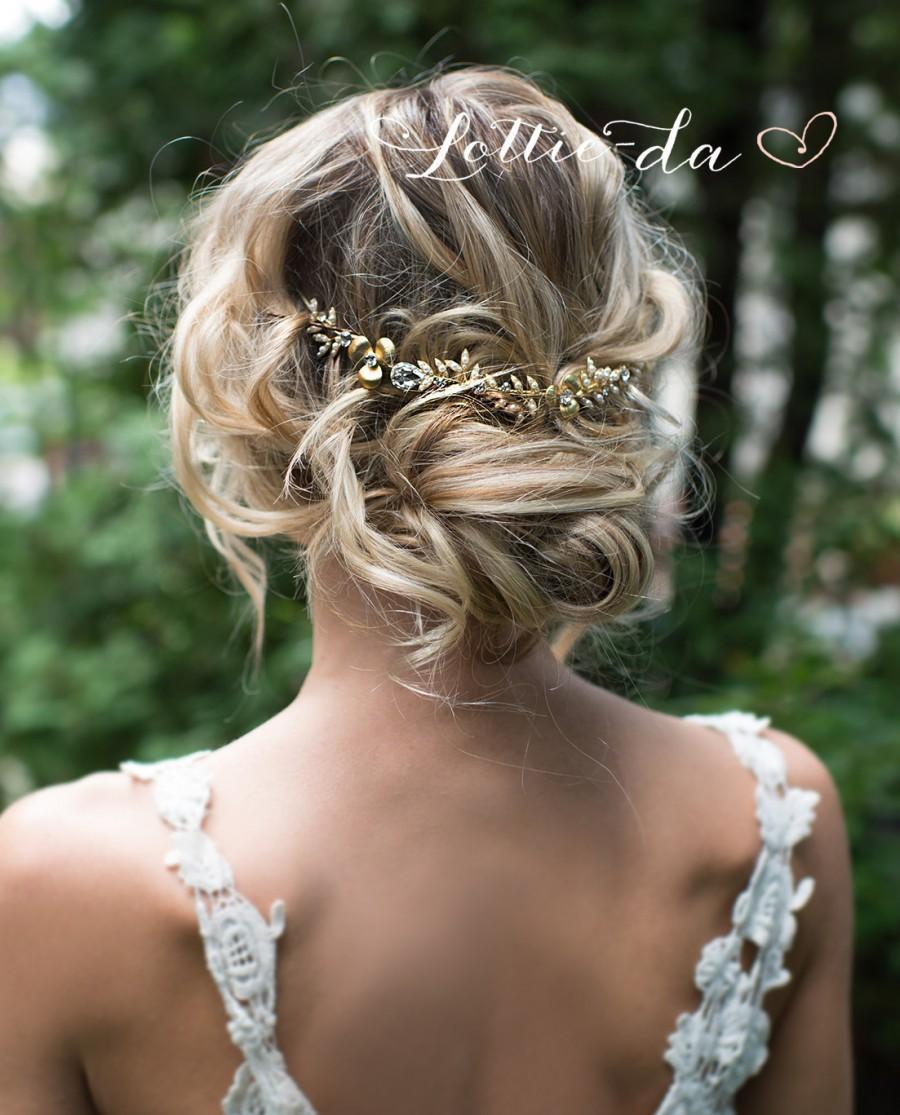 زفاف - Boho Gold Hair Halo Hair Vine, Flower Hair Crown, Grecian Gold Hair Wreath, Boho Gold Flower headband, Wedding Hair Vine - 'EMBER'