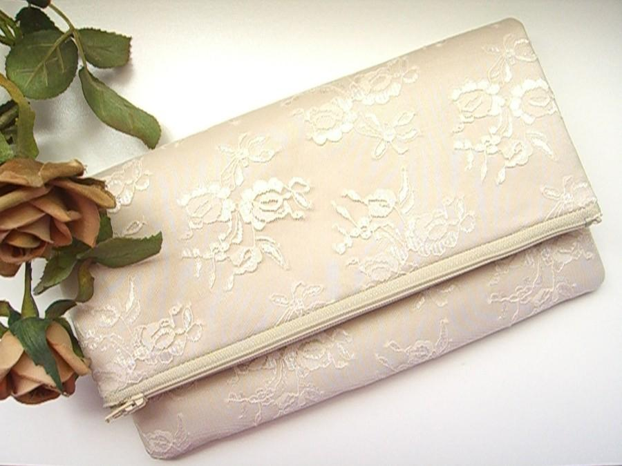 Mariage - Champagne Clutch - Champagne Satin Clutch - Wedding Clutch - Vintage Clutch - Bridesmaid Clutch - Bridal Clutch - Champagne Lace Clutch