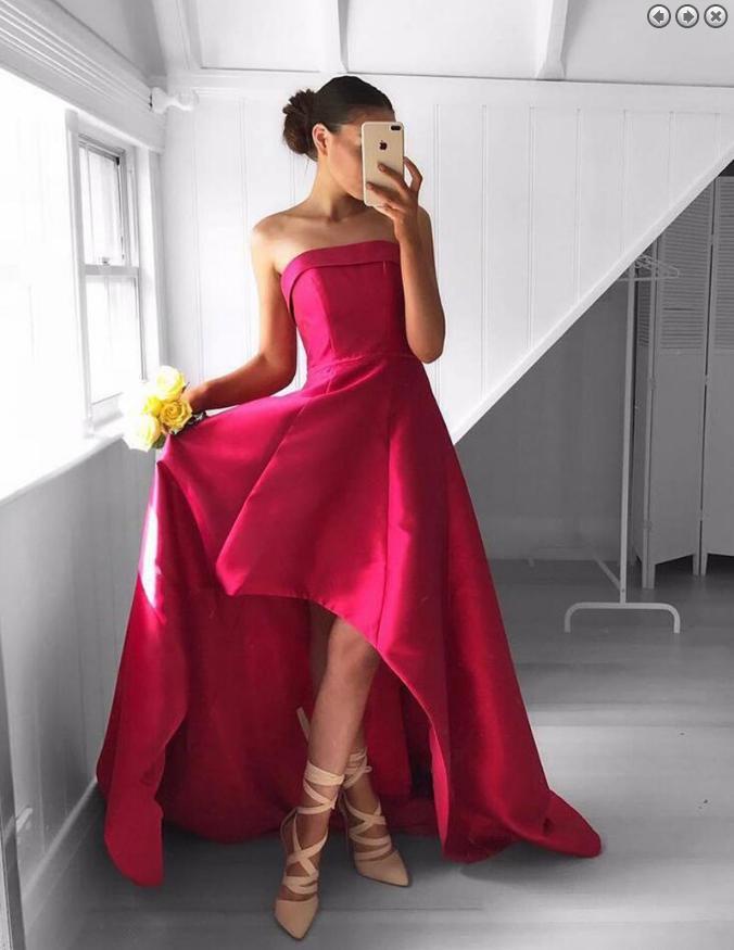 Wedding - red prom dress,hi-lo Prom Dress,unique prom dress,A-line evening dress,evening dress for girls,BD29671
