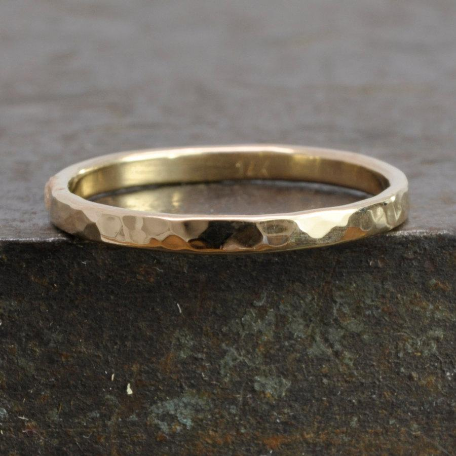 097d419efe329 Single Hand Forged 14K Yellow Gold Ring, Hammered Texture 2mm Size ...
