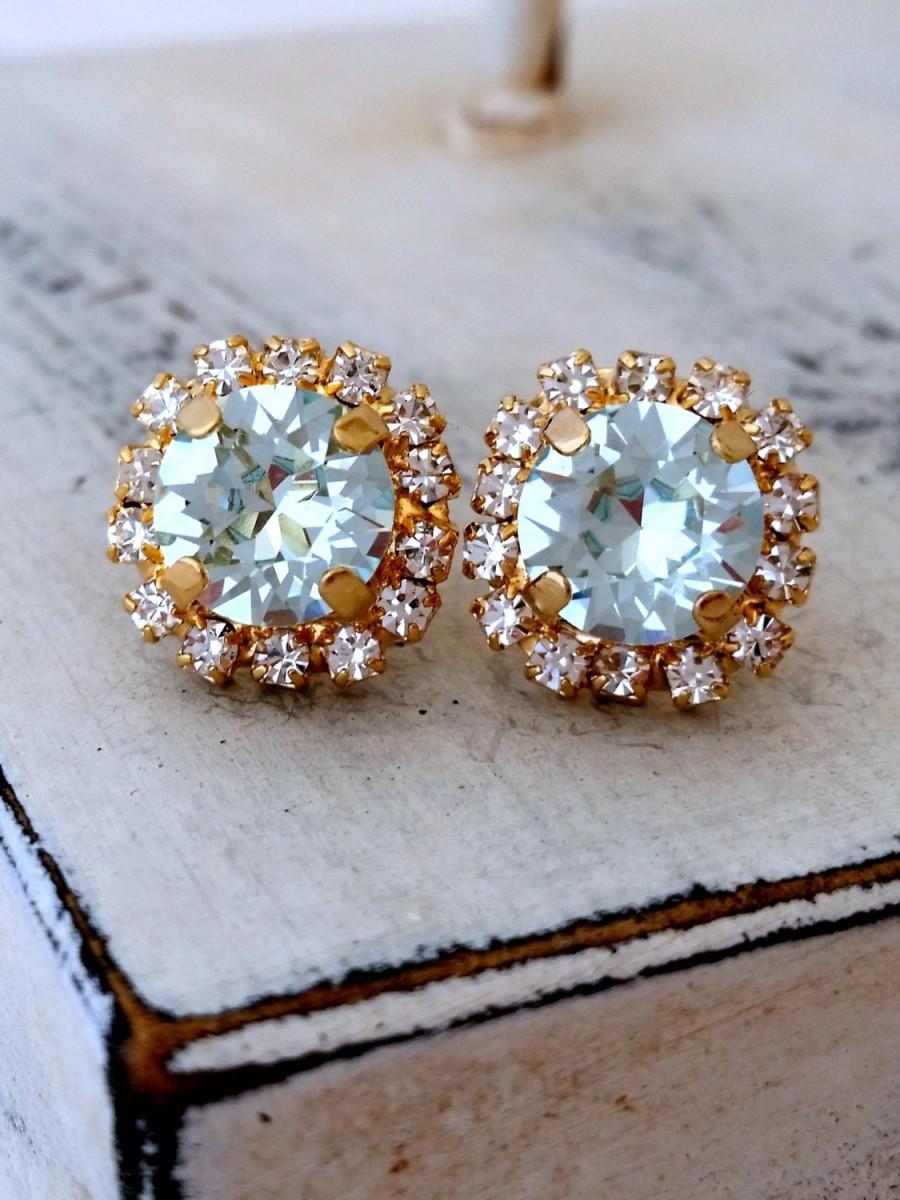 زفاف - Blue earrings,Ice blue aquamarine earrings,crystal stud earrings,Bright aquamarine earrings,blue bridal earrings,blue bridesmaid earrings