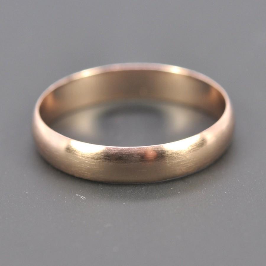 Hochzeit - 14K Rose Gold 4x1mm Half Round Ring, Matte Brushed Finish, Unisex Wedding Band, sizes 8.25-10 this listing, Sea Babe Jewelry
