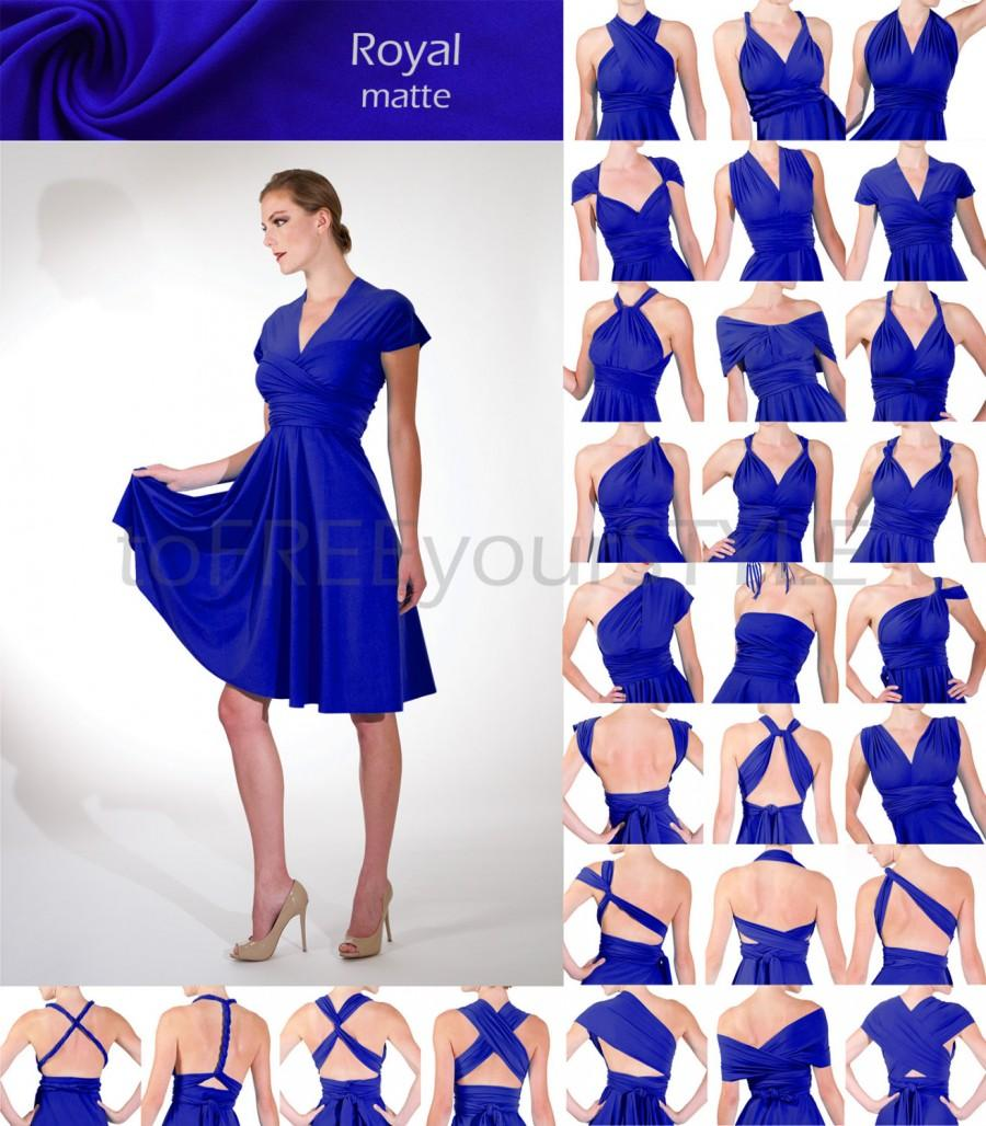 Short Convertible Dress In Royal Blue Matte Full Free