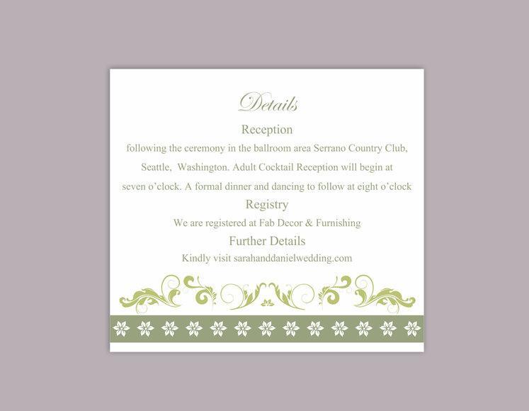 Mariage - DIY Wedding Details Card Template Download Printable Wedding Details Card Editable Olive Green Details Card Elegant Floral Information Cards - $6.90 USD