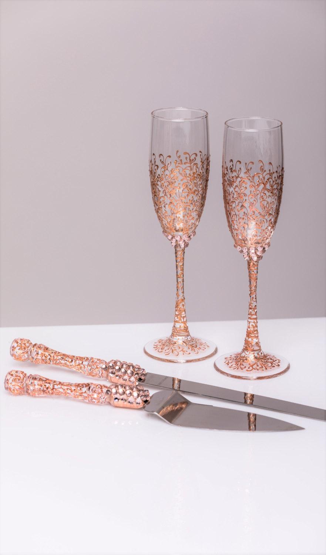 Rose Gold Wedding Glasses And Cake Server Set Cake Knife