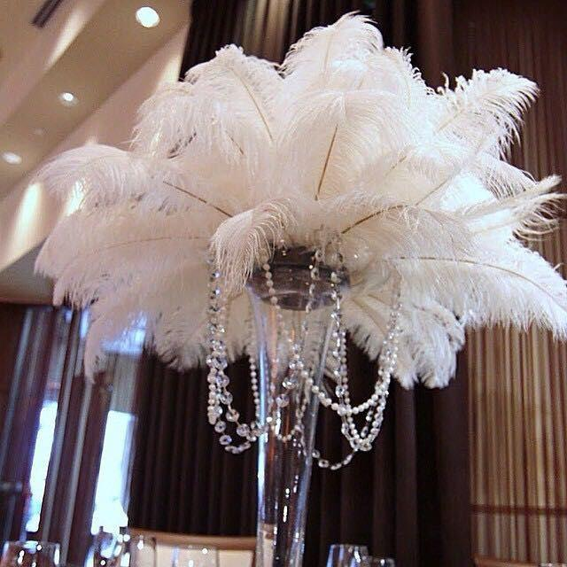 100 Pcs White Tail Ostrich Feathers 13 16wedding Table Centerpiece