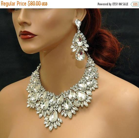 Wedding - Crystal Statement Wedding Necklace, Bridal Crystal Choker Necklace, Wedding Crystal Necklace Jewelry Set, Chunky Necklace, Prom Jewelry - $72.00 USD