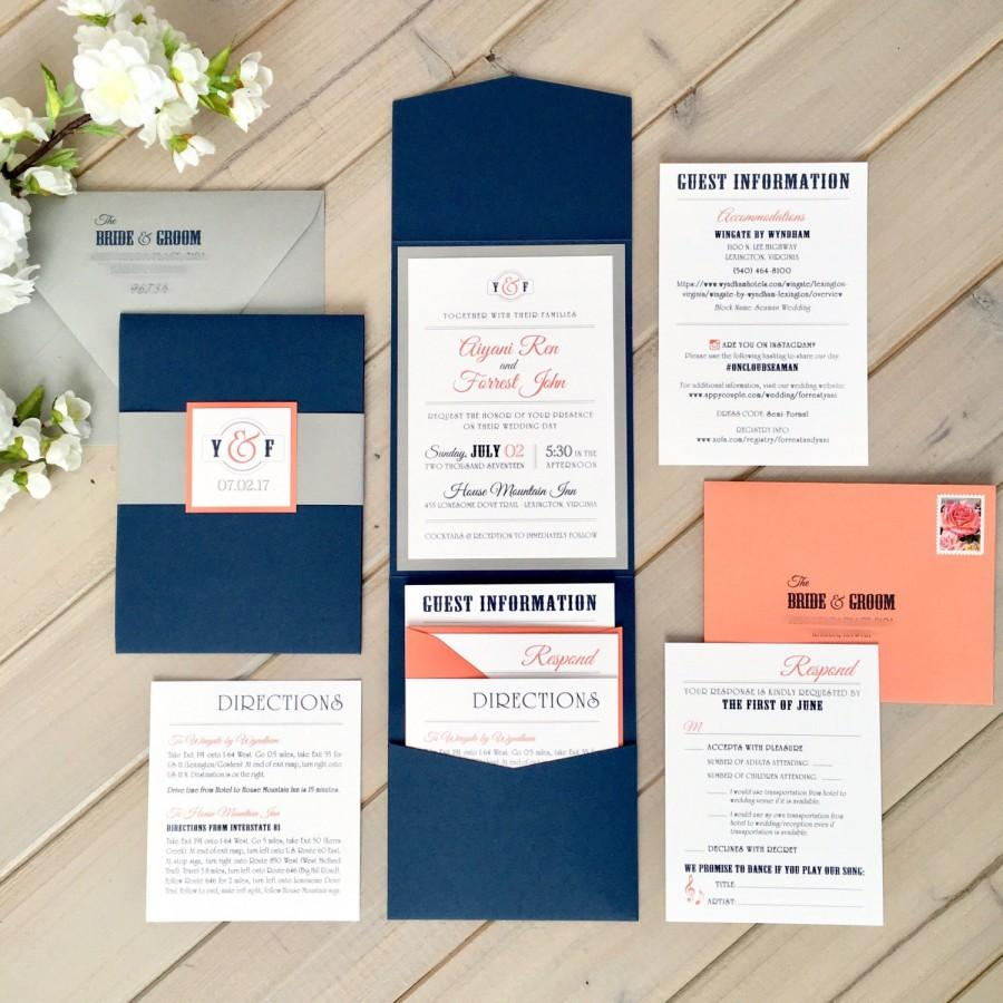 Navy, Gray And Coral Wedding Invitations, Modern Wedding ...