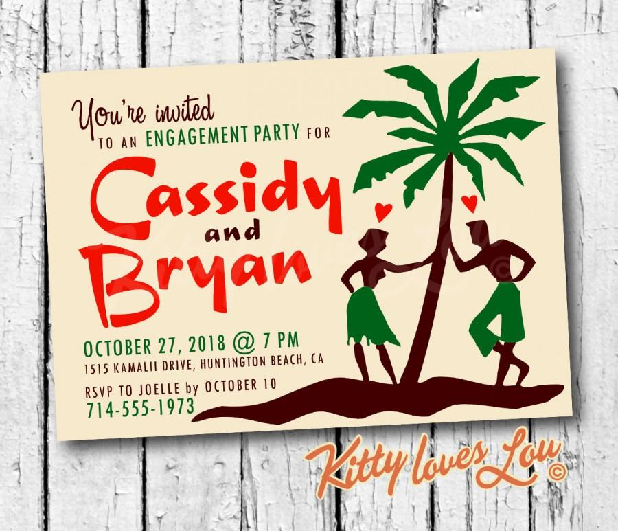printable engagement wedding invitation retro hawaiian digital pdf