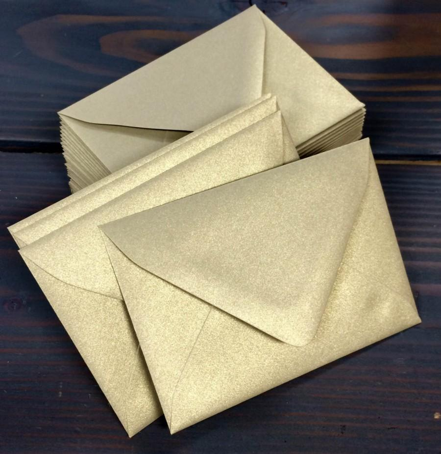 Mariage - 50 Gold Leaf Metallic Euro (Pointed) Flap Envelopes - A7, A2, A1