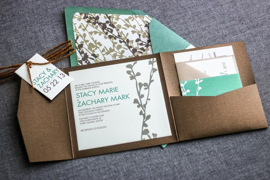 "Wedding - Rustic Floral Invitation, Woodland Chic Wedding, Green Wedding Invitation Suite, Pocket Invitations - ""Modern Floral Silhouette"" PF-NL-v2"
