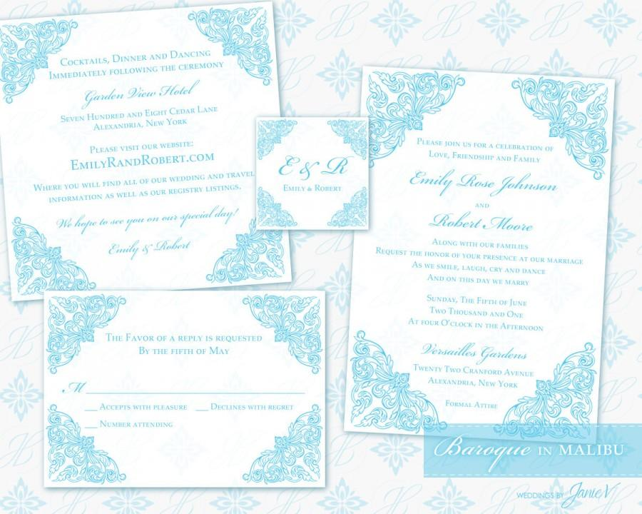 Wedding - Printable Invitation Set Digital Template