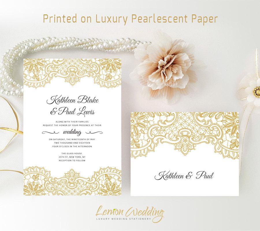 زفاف - Gold lace wedding invitation and rsvp card printed