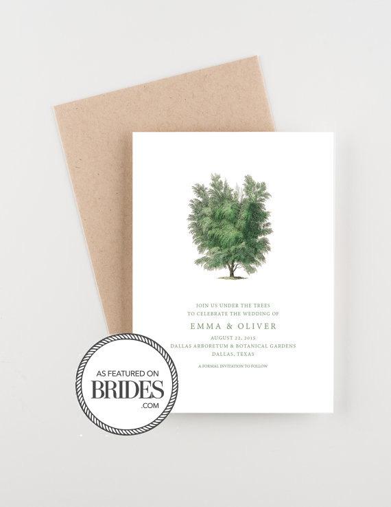 Hochzeit - Arboretum Botanical Save The Date, Woodland Invitation, as seen in Brides Magazine, Boho Forest Invitation, Wedding Announcement