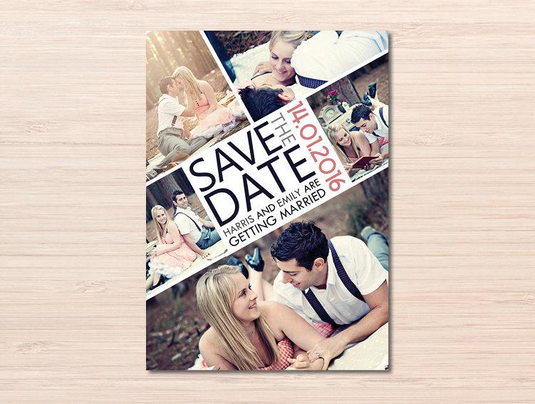 Hochzeit - Photo Collage ~ Photo Save the Date ~ Save the Date Card ~ Vintage Wedding ~ Engagement Photo ~ Photo Board ~ Vintage Save the Date ~ Rustic