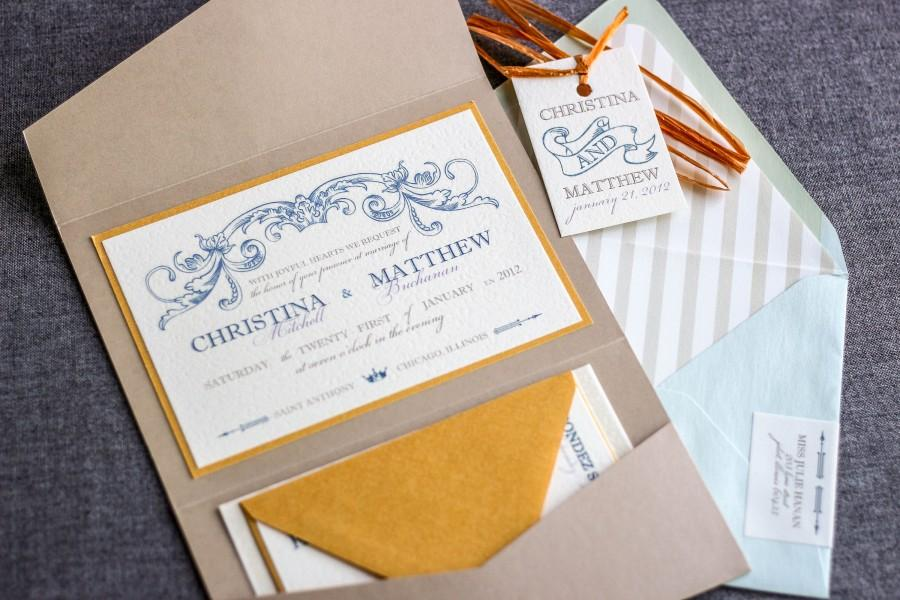 "Mariage - Blue and Gold Wedding Invitations, Vintage Invitation Suite, Beach Wedding Invites, Luxury Invitation Set - ""Romantic French Country"" PF-1L"