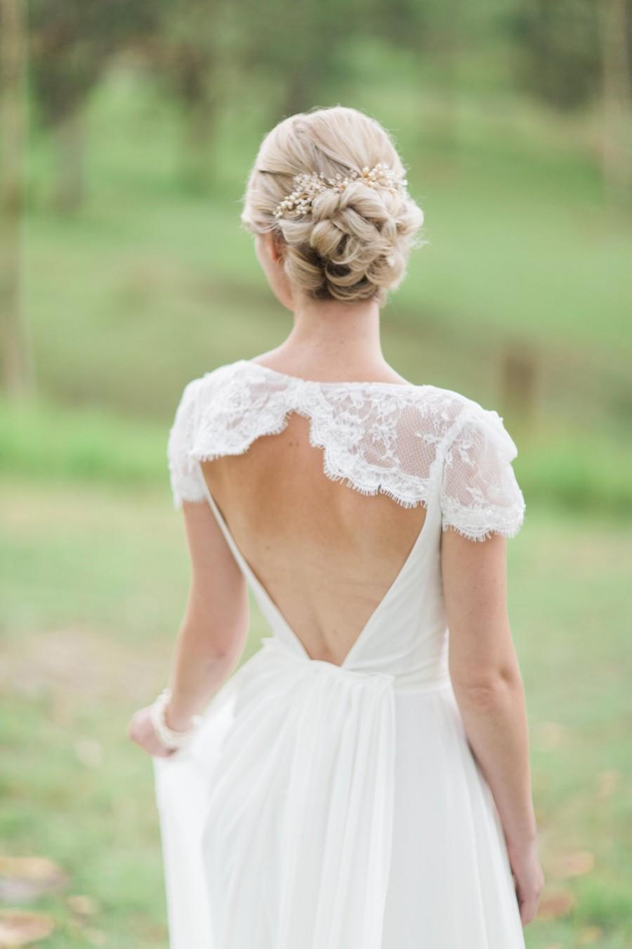 Wedding - Gold Wedding Headpiece, Ivory Flora Hair Piece, Crystal Bridal Headpiece, Ivory Bridal Headpiece - SAVILLE